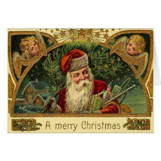 Vintages Weihnachten Sankt mit Engel-Engeln Karte