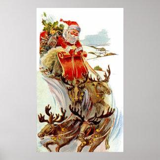 Vintages Weihnachten Sankt und Rensleigh-Druck Plakat