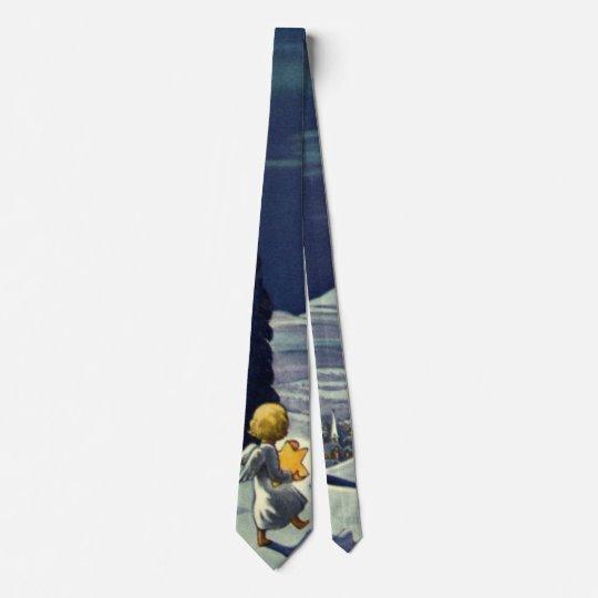 Vintages Weihnachten, Schnee-Engel, der mit einem Bedruckte Krawatte