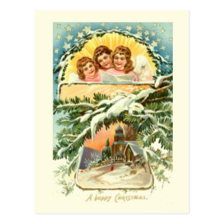 Vintages Weihnachten, Schnee, Kirche und Chor 2 Postkarte