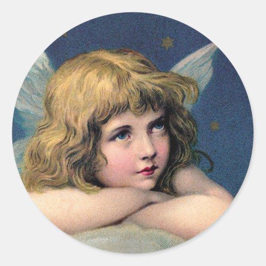 Vintages Weihnachten, schöner Engel mit Runder Aufkleber