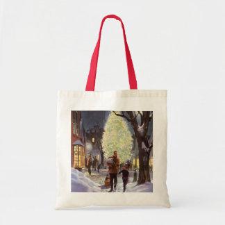 Vintages Weihnachten, Vater-Einkaufen mit den Tragetasche