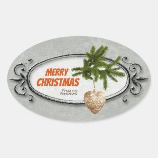 Vintages Weihnachten verziertes Rahmenherz CC0941 Ovaler Aufkleber