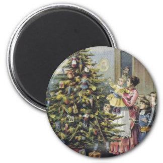Vintages Weihnachten, viktorianische Familie um Runder Magnet 5,1 Cm