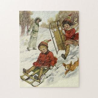 Vintages Weihnachten, viktorianische Kinder, die Puzzle