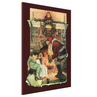 Vintages Weihnachten, viktorianische Leinwanddruck