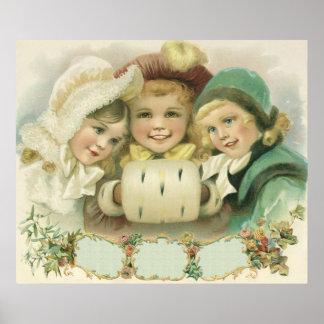 Vintages Weihnachten, viktorianische Mädchen, Plakatdrucke