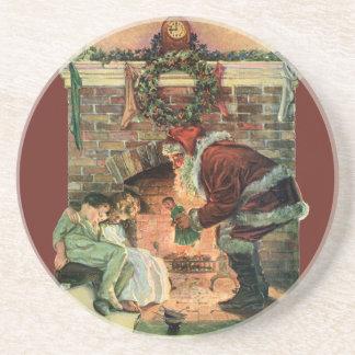Vintages Weihnachten, viktorianische Sandstein Untersetzer