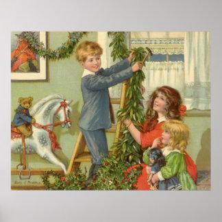 Vintages Weihnachten, viktorianische verzierende Poster