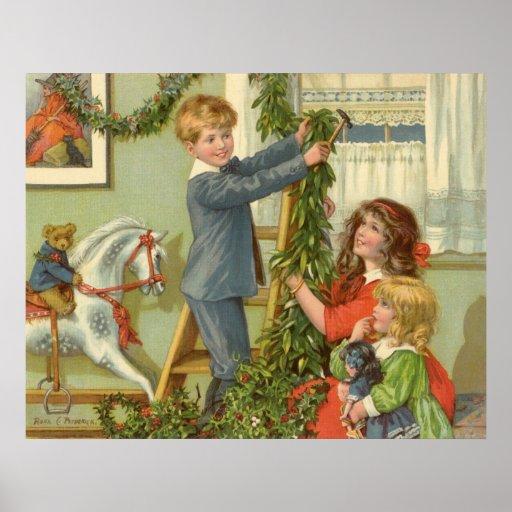 Vintages Weihnachten, viktorianische verzierende Plakat