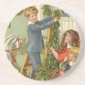 Vintages Weihnachten, viktorianische verzierende Untersetzer
