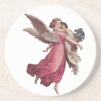 Vintages Weihnachten, viktorianischer Engel, der Getränke Untersetzer