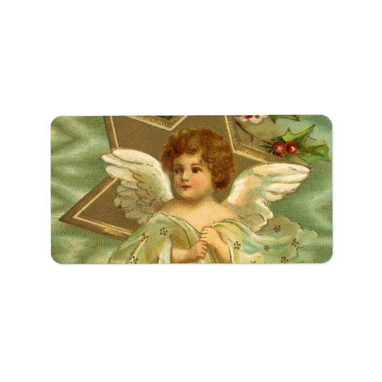 Vintages Weihnachten, viktorianischer Engel mit Adress Aufkleber