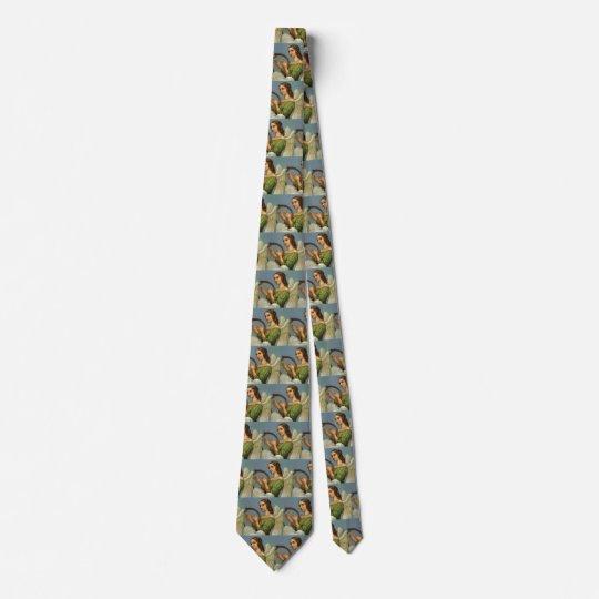 Vintages Weihnachten, viktorianischer Engel mit Bedruckte Krawatten