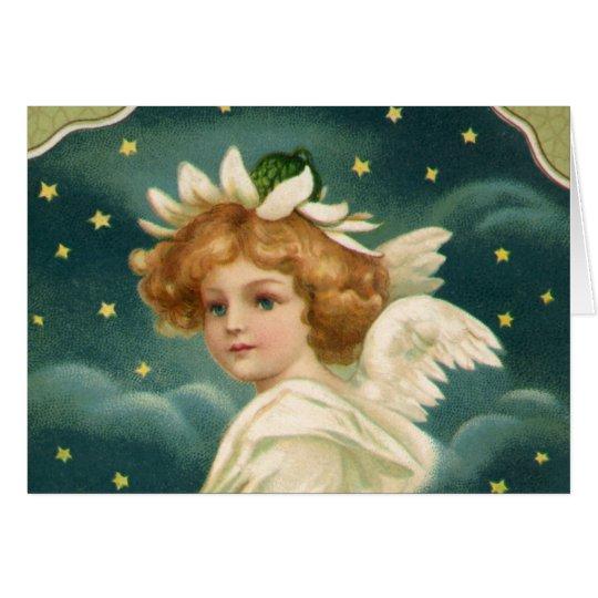 Vintages Weihnachten, viktorianischer Engel mit Grußkarte