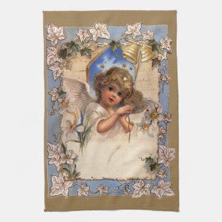 Vintages Weihnachten, viktorianischer Engel mit Küchentuch