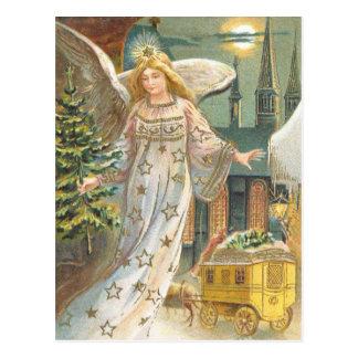 Vintages Weihnachten, viktorianischer Engel mit Postkarte