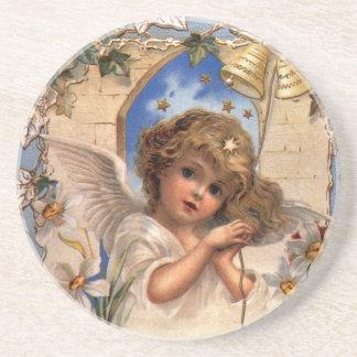 Vintages Weihnachten, viktorianischer Engel mit Untersatz