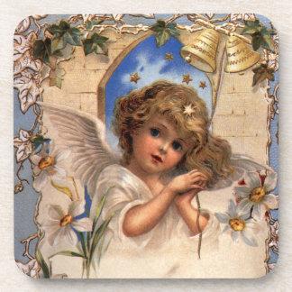 Vintages Weihnachten, viktorianischer Engel mit Untersetzer