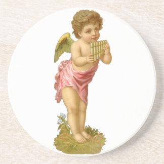 Vintages Weihnachten, viktorianischer Engel mit Getränke Untersetzer