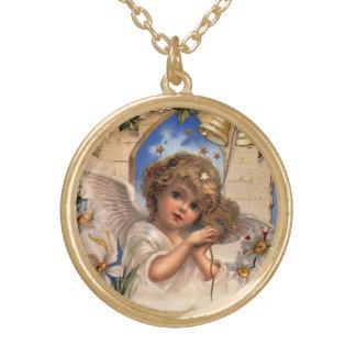Vintages Weihnachten, viktorianischer Engel mit Vergoldete Kette