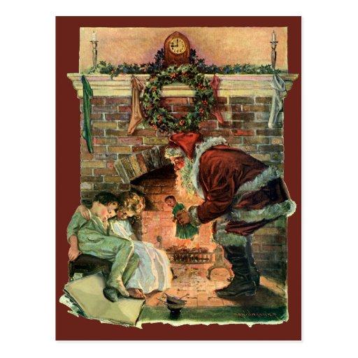 Vintages Weihnachten, viktorianischer Postkarte
