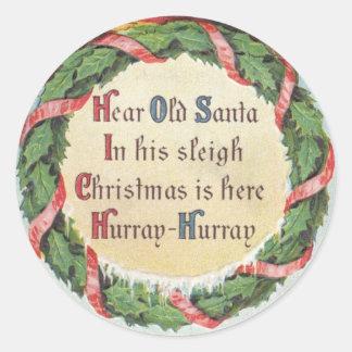 Vintages Weihnachten, viktorianischer Runder Aufkleber