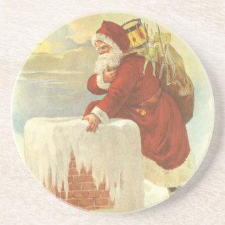 Vintages Weihnachten, viktorianischer Sandstein Untersetzer