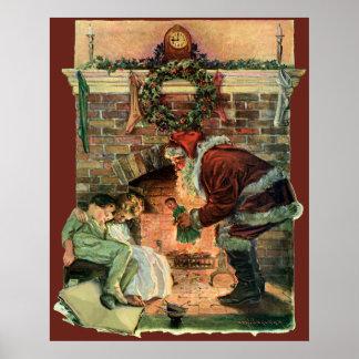 Vintages Weihnachten, viktorianischer Weihnachtsma Posterdruck