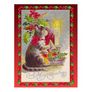 Vintages Weihnachten, Weihnachtskatze Postkarte
