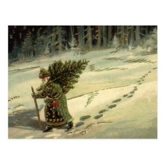 Vintages Weihnachten, Weihnachtsmann, der einen Postkarte