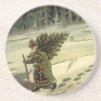 Vintages Weihnachten, Weihnachtsmann, der einen Getränke Untersetzer