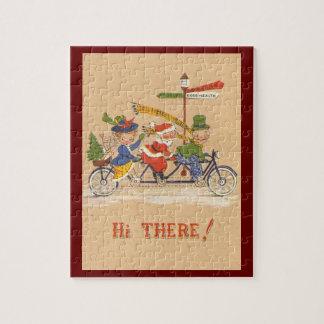 Vintages Weihnachten, Weihnachtsmann, der Fahrrad Puzzle