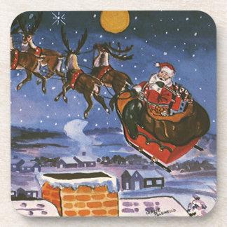 Vintages Weihnachten Weihnachtsmann, der seinen Getränke Untersetzer