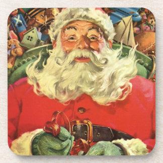 Vintages Weihnachten, Weihnachtsmann im Sleigh mit Drink Untersetzer