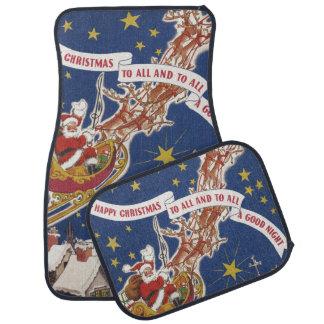 Vintages Weihnachten Weihnachtsmann mit Autofußmatte