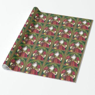 Vintages Weihnachten, Weihnachtsmann mit Geschenkpapier