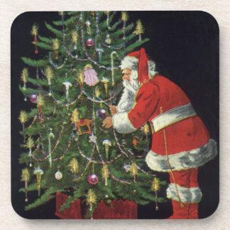 Vintages Weihnachten, Weihnachtsmann mit Getränk Untersetzer