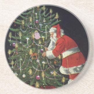 Vintages Weihnachten, Weihnachtsmann mit Getränkeuntersetzer