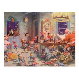 Vintages Weihnachten, Weihnachtsmann mit Postkarte