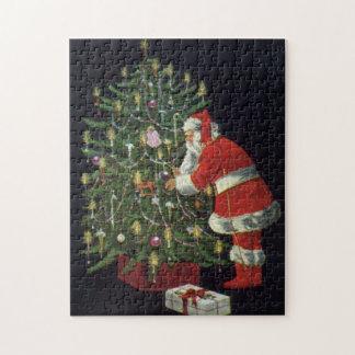 Vintages Weihnachten, Weihnachtsmann mit Puzzle