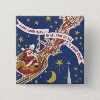 Vintages Weihnachten Weihnachtsmann mit Quadratischer Button 5,1 Cm