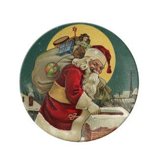 Vintages Weihnachten Weihnachtsmann mit Tasche der Porzellanteller