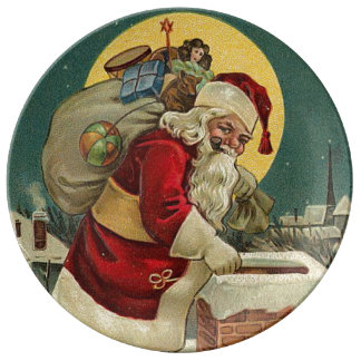 Vintages Weihnachten Weihnachtsmann mit Tasche der Teller Aus Porzellan