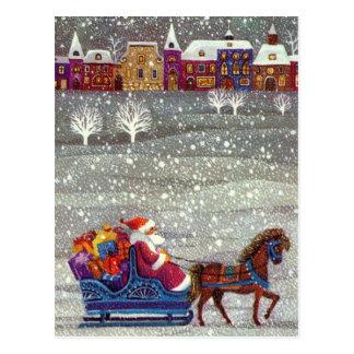 Vintages Weihnachten, Weihnachtsmann-Pferdeoffener Postkarte