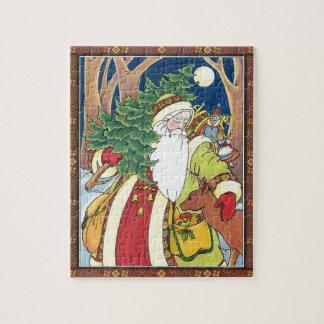 Vintages Weihnachten, Weihnachtsmann-Rotwild im Puzzle