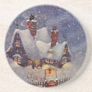 Vintages Weihnachten, Weihnachtsmann-Werkstatt Untersatz