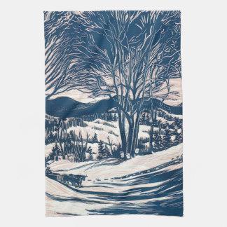 Vintages Weihnachten, Winter-Gebirgslandschaft Geschirrtuch