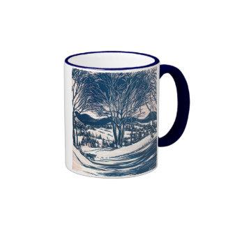 Vintages Weihnachten, Winter-Gebirgslandschaft Ringer Tasse