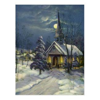 Vintages Weihnachten, Winter-Kirche im Mondschein Postkarte